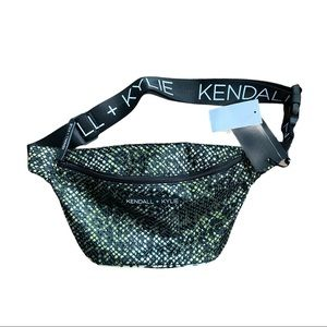 Kendall + Kylie Mesh/Animal Print Belt Bag